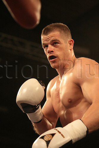 18.05.2012, Manchester England. Box Academy. Callum Johnson in action against James Tucker during the Frank Warren Promotions night at Bowlers in Manchester.