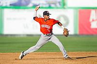 Greeneville Astros shortstop Antonio Nunez (1) makes a throw to first base against the Burlington Royals at Burlington Athletic Park on June 29, 2014 in Burlington, North Carolina.  The Royals defeated the Astros 11-0. (Brian Westerholt/Four Seam Images)