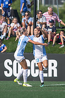 Allston, MA - Saturday August 19, 2017: Alanna Kennedy, Alex Morgan during a regular season National Women's Soccer League (NWSL) match between the Boston Breakers and the Orlando Pride at Jordan Field.