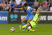 Bridgeview, IL - Wednesday August 16, 2017: Christen Press, Jess Fishlock during a regular season National Women's Soccer League (NWSL) match between the Chicago Red Stars and the Seattle Reign FC at Toyota Park.