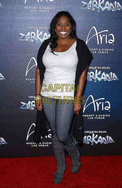 Shar Jackson.Red Carpet Premiere of Zarkana by Cirque Du Soleil at Aria Resort and Casino, Las Vegas, Nevada, USA, .9th November 2012..full length jeans white top grey gray knee high boots .CAP/ADM/MJT.© MJT/AdMedia/Capital Pictures.