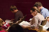 Students take exams in CVM main auditorium