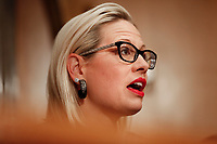 United States Senator Kyrsten Sinema (Democrat of Arizona) questions witnesses during the US Senate Committee on Homeland Security and Government Affairs hearing on April 9, 2019.<br /> Credit: Stefani Reynolds / CNP/AdMedia