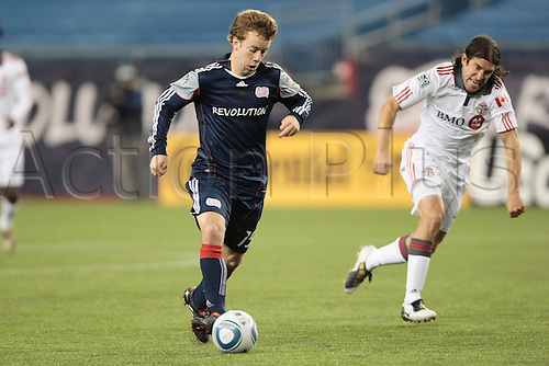 10/04/2010 New England Revolution's Zack Schilawski (15) heads in to score his third goal of the match. The New England Revolution defeated Toronto FC 4-1 in a regular season Major League Soccer match at Gillette Stadium in Foxborough, Massachusetts.