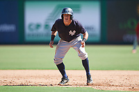 New York Yankees Kyle Gray (2) leads off first base during a Florida Instructional League game against the Philadelphia Phillies on October 12, 2018 at Spectrum Field in Clearwater, Florida.  (Mike Janes/Four Seam Images)