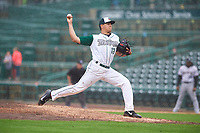 Fort Wayne TinCaps relief pitcher Adrian Martinez (13) during a Midwest League game against the Kane County Cougars at Parkview Field on May 1, 2019 in Fort Wayne, Indiana. Fort Wayne defeated Kane County 10-4. (Zachary Lucy/Four Seam Images)