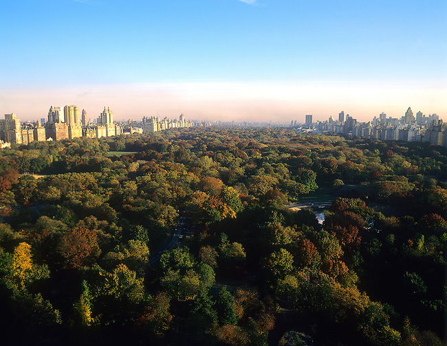 Aerial, Central Park, New York, New York..Looking from South to North