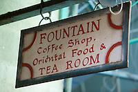 Asie/Israël/Judée/Jérusalem:  Enseigne du café salon de thé le Fountain à Jérusalem