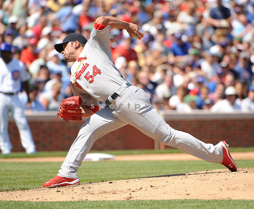 JAMIE GARCIA, of the St. Louis Cardinals, in action during the Cardinals game against the Chicago Cubs on August 19, 20011, at Wrigley Field in Chicago, Illinois. The Cubs beat the Cardinals 5-4