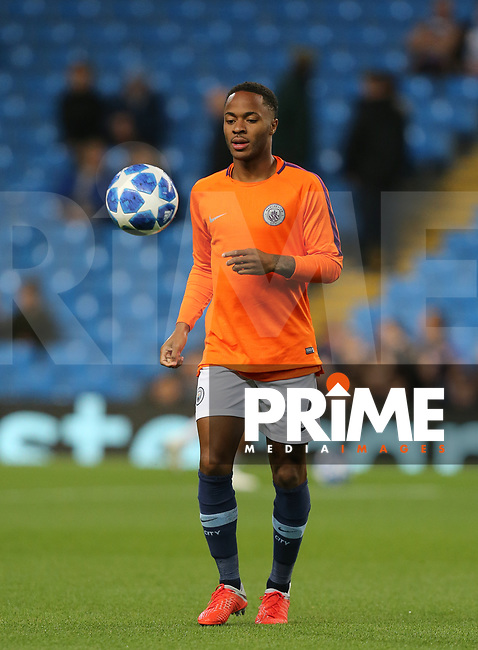 Raheem STERLING of Manchester City pre match during the UEFA Champions League match between Manchester City and Olympique Lyonnais at the Etihad Stadium, Manchester, England on 19 September 2018. Photo by David Horn / PRiME Media Images.