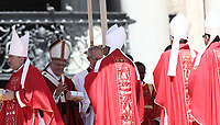 Papa Francesco consegna il Sacro Pallio agli arcivescovi metropoliti durante la Santa Messa della Solennit&agrave; dei Santi Pietro e Paolo in piazza San Pietro, Citta' del Vaticano, 29 giugno, 2017.<br /> Pope Francis gives a box with the sacred pallium, a woolen shawl symbolizing their bond to the pope, to new Metropolitan Archbishops during the mass for the imposition of the Pallium and the solemnity of Saints Peter and Paul in St. Peter's Square at the Vatican, on June 29, 2017.<br /> UPDATE IMAGES PRESS/Isabella Bonotto<br /> <br /> STRICTLY ONLY FOR EDITORIAL USE