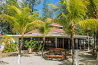 Honduras, Roatan Island, Fantasy Island Resort, Caribbean. Beach in front of the hotel.