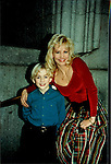 "One Life To Live Tyler Noyes ""CJ Roberts"" poses with ""mom Tina Roberts"" Krista Tesreau in front of the OLTL studio wearing OLTL clothes (Photo by Sue Coflin/Max Photos)"