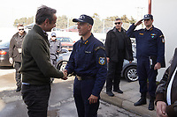 Pictured: Kyriakos Mitsotakis greets a fireman in the Evros area, Greece. Tuesday 03 March 2020<br /> Re: Greek Prime Minister Kyriakos Mitsotakis has met with members of the emergency services and army personnel at the Evros area, Greece