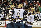 Oct. 21, 2011; Anders Lee (9) celebrates a goal in the opening Hockey game in the Compton Family Ice Arena. Notre Dame won 5-2...Photo by Matt Cashore/University of Notre Dame