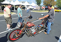 NWA Democrat-Gazette/MICHAEL WOODS &bull; @NWAMICHAELW<br /> Darrel Buford from Pryor Oklahoma, sounds his horn on his custom built rat bike while attending the 4th Annual Car/Truck Show Friday September 25, 2015 at Arvest Ballpark in Springdale.  The 16th annual Bikes, Blues and BBQ Motorcycle Rally runs through Saturday on Dickson Street, Baum Stadium and the Washington County Fairgrounds in Fayetteville and all day Saturday at Arvest Ballpark in Springdale.
