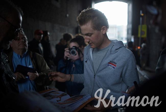 Tim Wellens (BEL/Lotto-Soudal) is getting more&more popular per race<br /> <br /> Team Presentation; 1 day ahead of the 101th Liège-Bastogne-Liège 2015