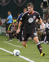 Devon McTavish #18 of D.C. United keeps the ball in play during an MLS match against the San Jose Earthquakes at RFK Stadium in Washington D.C. on October 9 2010. San Jose won 2-0.