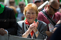 """Luciana Romoli (Antifascist Partizan. Member of the Partigiani: the Italian Resistance during WWII).<br /> <br /> Rome, 25/04/2018. Today, to mark the 73rd Anniversary of the Italian Liberation from nazi-fascism ('Liberazione'), ANED Roma & ANPI Roma (National Association of Italian Partizans) held a march ('Corteo') from Garbatella to Piazzale Ostiense where a rally took place attended by Partizans, Veterans and politicians – including the Mayor of Rome and the President of Lazio's Region. FOR THE FULL CAPTIONS PLEASE CHECK """"Photo Stories - 2010 to Today"""" 25.04.2018."""