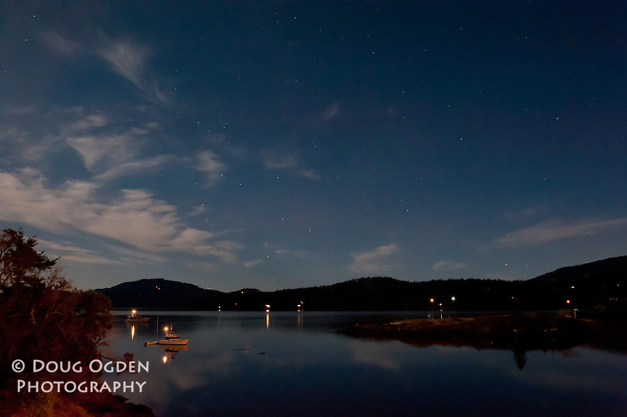 Night time from East Sound Orcas Island, San Juan Islands, Washignton