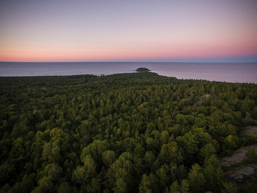 Aerial drone view of Little Presque Isle Marquette, Michigan.