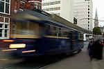 Tram moving through downtown Christchurch, New Zealand