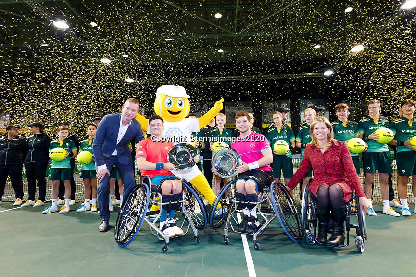 Rotterdam, The Netherlands, 14 Februari 2020, ABNAMRO World Tennis Tournament, Ahoy,   Wheelchair Doubles Final: Alfie Hewett (GBR and Gordon Reid (GBR).<br /> <br /> Photo: www.tennisimages.com