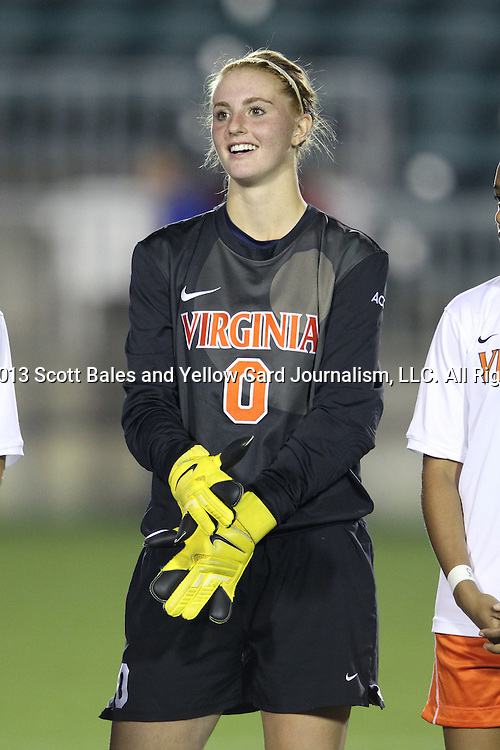 08 November 2013: Virginia's Morgan Stearns. The University of Virginia Cavaliers played the Virginia Tech Hokies at WakeMed Stadium in Cary, North Carolina in a 2013 NCAA Division I Women's Soccer match and the semifinals of the Atlantic Coast Conference tournament. Virginia Tech won the game 4-2.