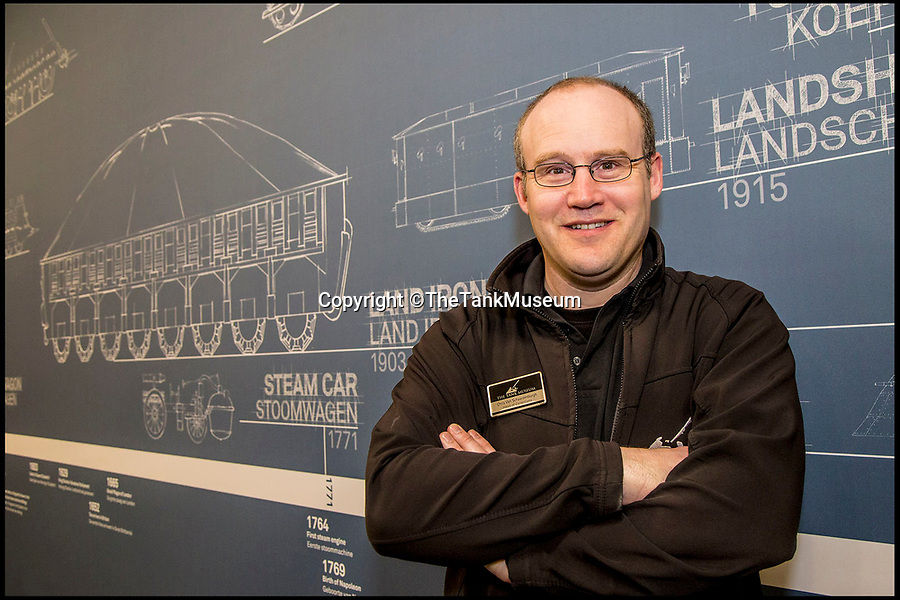 BNPS.co.uk (01202 558833)Pic: TheTankMuseum/BNPS<br /> <br /> Head of Collections at the Tank Museum, Dorset, Chris van Schaardenburgh.<br /> <br /> Tanks from the Memories...<br /> <br /> A museum has recreated some of the evolutionary dead ends dreamt up before the modern Tank was finally invented during WW1.<br /> <br /> Accurate models of the weird and wonderful creations that date as far back as 3,000 years ago will form part of a new exhibition at The Tank Museum in Bovington, Dorset.<br /> <br /> Tanks as we know them rolled onto the battlefield in 1916 during World War One.<br /> <br /> But among the models recreated is one designed by ancient Assyrians from 9th century BC, which was an early siege vehicle – a battering ram with armour and a protruding weapon.