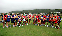 The Hurricanes 2008 squad after the match during the Preseason Cross-code Rugby Union v Australian Rules friendly between the Hurricanes and Wellington Tigers at  Elsdon Park, Porirua, New Zealand on Tuesday, 15 January 2008. Photo: Dave Lintott / lintottphoto.co.nz
