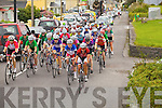 The main bunch of Ra?s na mBan riders coming through Cahersiveen on Thursday.