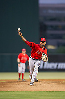 AZL Angels starting pitcher Cristopher Molina (20) delivers a pitch during a game against the AZL Indians on August 7, 2017 at Tempe Diablo Stadium in Tempe, Arizona. AZL Indians defeated the AZL Angels 5-3. (Zachary Lucy/Four Seam Images)