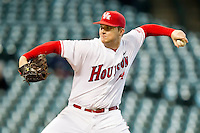 Starting pitcher Jordan Lewis #14 in action against the Arkansas Razorbacks at Minute Maid Park on March 3, 2012 in Houston, Texas.  The Cougars defeated the Razorbacks 4-1.  Brian Westerholt / Four Seam Images