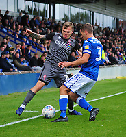 Lincoln City's Harry Anderson vies for possession with Macclesfield Town's David Fitzpatrick<br /> <br /> Photographer Andrew Vaughan/CameraSport<br /> <br /> The EFL Sky Bet League One - Macclesfield Town v Lincoln City - Saturday 15th September 2018 - Moss Rose - Macclesfield<br /> <br /> World Copyright &copy; 2018 CameraSport. All rights reserved. 43 Linden Ave. Countesthorpe. Leicester. England. LE8 5PG - Tel: +44 (0) 116 277 4147 - admin@camerasport.com - www.camerasport.com