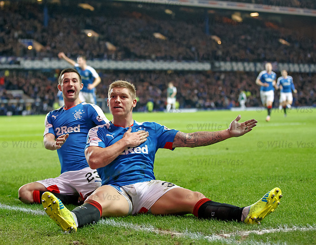 Martyn Waghorn celebrates his killer fourth goal for Rangers with Jason Holt