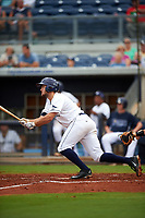Charlotte Stone Crabs third baseman Jim Haley (38) follows through on a swing during the first game of a doubleheader against the Tampa Yankees on July 18, 2017 at Charlotte Sports Park in Port Charlotte, Florida.  Charlotte defeated Tampa 7-0 in a game that was originally started on June 29th but called to inclement weather.  (Mike Janes/Four Seam Images)