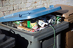 Sorted household waste, domestic recycling bin full of recyclable materials, Suffolk Coastal District Council, England