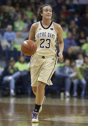 November 18, 2012:  Notre Dame guard Michaela Mabrey (23) dribbles the ball during NCAA Women's Basketball game action between the Notre Dame Fighting Irish and the Massachusetts Minutewomen at Purcell Pavilion at the Joyce Center in South Bend, Indiana.  Notre Dame defeated Massachusetts 94-50.