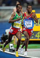 17 AUG 2009 - BERLIN, GER - Kenenisa Bekele (ETH) over takes Zersenay Tadese (ERI) on his way to victory in the Mens 10000m Final at the World Athletics Championships (PHOTO (C) NIGEL FARROW)