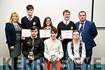 Pictured at the Kerry Education and Training Board student awards night, at the Institute of Technology, Tralee on Friday night last, were students and staff from Coláiste na Ríochta, Listowel, front l-r: Mark Fealey, Sean McKenna and Dale O'Carroll. Back l-r: Iseult Glynn (Deputy Principal), Diarmuid McDonnell, Emilia Girasole, Daniel Aherne and Stephen Goulding.