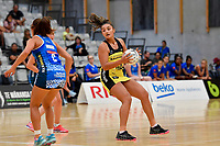 Pulse&rsquo; Tiana Metuarau in action during the Pre Season Tournament - Pulse v Mystics at Ngā  Purapura, Otaki, New Zealand on Saturday 9 February  2019. <br /> Photo by Masanori Udagawa. <br /> www.photowellington.photoshelter.com