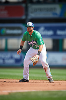 Hartford Yard Goats first baseman Brian Mundell (15) during a game against the Trenton Thunder on August 26, 2018 at Dunkin' Donuts Park in Hartford, Connecticut.  Trenton defeated Hartford 8-3.  (Mike Janes/Four Seam Images)
