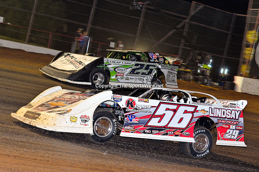 May 25, 2013; 10:49:51 PM; Wheatland, Mo., USA; The  Lucas Oil Late Model Dirt Series running the 21st Annual Lucas Oil Show-Me 100 Presented by ProtectTheHarvest.com.  Mandatory Credit: (thesportswire.net)