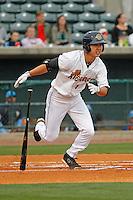 Charleston RiverDogs infielder Hoy Jun Park (1) at bat during a game against the Myrtle Beach Pelicans at Joseph P.Riley Jr. Ballpark on April 6, 2016 in Charleston, South Carolina. Myrtle Beach defeated Charleston 2-0. (Robert Gurganus/Four Seam Images)
