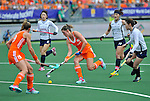 The Hague, Netherlands, June 09: Lidewij Welten #12 of The Netherlands runs with the ball during the field hockey group match (Women - Group A) between The Netherlands and Korea on June 9, 2014 during the World Cup 2014 at Kyocera Stadium in The Hague, Netherlands. Final score 3-0 (1-0)  (Photo by Dirk Markgraf / www.265-images.com) *** Local caption *** (L-R) Ellen Hoog #19 of The Netherlands, Hyoju An #8 of Korea, Lidewij Welten #12 of The Netherlands, Jongeun Kim #11 of Korea, Sena Cha #7 of Korea