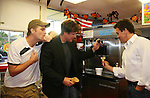 Daniel Cosgrove - Frank Dicopoulos - Lawrence Saint-Victor - Kurt McKinney - Guiding Light's actors make ice cream cones and meet fans at Stacy Jo's Ice Cream in McKees Rocks, PA on September 30, 2009. During the weekend of events proceeds from pink ribbon bagel sales at various Panera Bread locations will benefit the Young Women's Breast Cancer Awareness Foundation. (Photo by Sue Coflin/Max Photos)