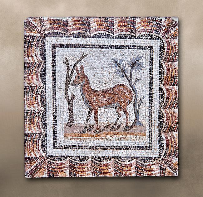 3rd century AD Roman mosaic depiction of two deer between two shrubs. Thysdrus (El Jem), Tunisia.  The Bardo Museum, Tunis, Tunisia.