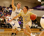 SIOUX FALLS, SD - NOVEMBER 25: Ryan Bruggeman #3 from Southwest Minnesota State University drives to the basket against Zach Wessels #11 from the University of Sioux Falls during their game Saturday night at the Stewart Center in Sioux Falls. (Photo by Dave Eggen/Inertia)