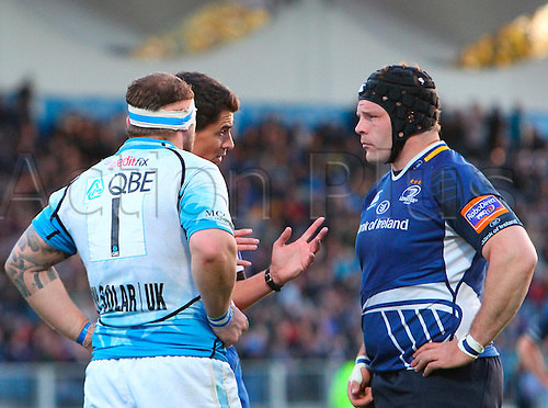 11.05.2013 Dublin, Ireland. Referee Pascal Gauzere (FFR) speaks to Ryan Grant (Glasgow) and Mike Ross (Leinster) during the RaboDirect PRO12 Semi Final game between Leinster and Glasgow Warriors from the Royal Dublin Society.