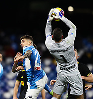 6th January 2020; Stadio San Paolo, Naples, Campania, Italy; Serie A Football, Napoli versus Inter Milan; Giovanni Di Lorenzo of Napoli with a goal opportunity that is saved by goalkeeper Handanovic of Inter